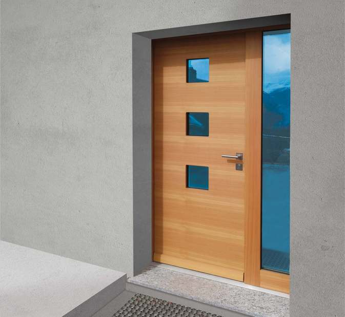 Porte d'entrée extérieure Attalext 3cde, avec partie latérale vitrée